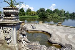 Hever Castle patio at a lakeside in England Royalty Free Stock Image