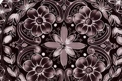 Old pattern of flowers and shapes Stock Photo