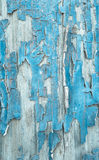 Old patterned wooden background in turquoise or blue with flaked Stock Photography