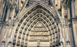 Old patterns, front facade of high and tourism Cologne-Dom Stock Images