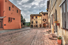 Old paved street in Certaldo Stock Photography