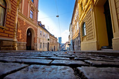 Old paved street of Zagreb upper town Stock Photo