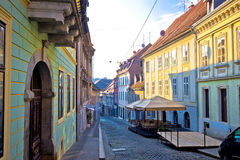 Old paved street of Zagreb upper town. Old paved Radiceva street of Zagreb upper town, capital of Croatia Stock Images
