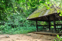 Old Pavilion in forest. For background Stock Photo