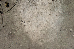 Old paving slab of concrete. Old dirty paving slab of concrete with pieces of grass with spots Stock Photography