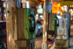 Old Payphone in China Town, Kuala Lumpur, Malaysia. This picture was taken in China Town, Kuala Lumpur, Malaysia stock photography