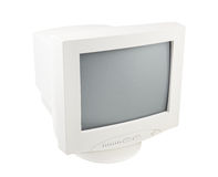 Old Pc Crt Monitor Screen isolated white Royalty Free Stock Images