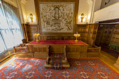 Old PCA Courtroom. Courtroom of the Permanent Court of Arbitration inside the Peace Palace, Den Haag, Netherlands Royalty Free Stock Photos