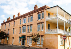 Old Peach Colored Stucco Building Royalty Free Stock Photo