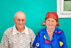 Old peasant couple Royalty Free Stock Image