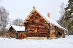 Free Old Peasant Farm Of Kokorins In Snowfall Stock Photos - 140686263