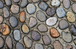 Old pebble stones. Over concrete Royalty Free Stock Image