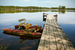 Old pedal boat on the lake Royalty Free Stock Photo