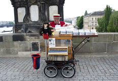 Old peddler in Prague, raw Stock Image