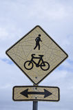 Old Pedestrian and Cycle Sign Royalty Free Stock Image
