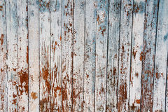 Old peeling blue paint on weathered wood as a detailed grunge background image Stock Photos