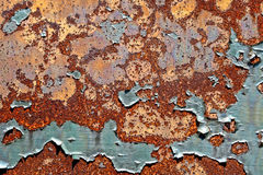 Old Peeling Paint on Rusty Metal Grunge Background stock images