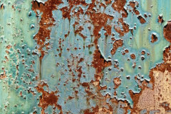 Old Peeling Paint on Rusty Metal Grunge Background Stock Image