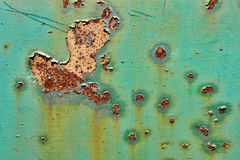 Old Peeling Paint on Rusty Metal Grunge Background Stock Photo