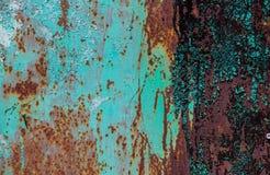 Old Peeling Paint on Rusty Metal Grunge Background Stock Image