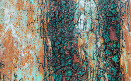 Old Peeling Paint on Rusty Metal Grunge Background Royalty Free Stock Photos