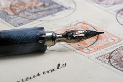 Old pen. Vintage letter written by ink feather stock photography