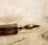 Old pen. Vintage letter written by ink feather stock photos