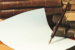 Old Pen And Books Stock Photo