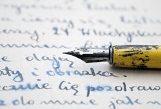 Old pen and letter Royalty Free Stock Photography