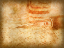Old pen and retro calligraphy background Royalty Free Stock Photo