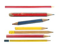 Old Pencils isolated on white Royalty Free Stock Photo