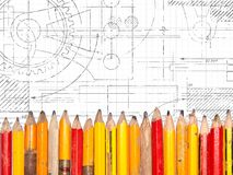 Old Pencils Technical Drawing Stock Images