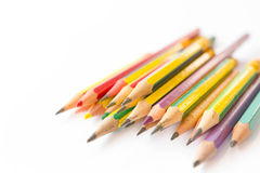 Old pencils on white background Stock Image