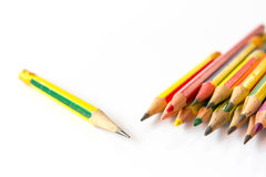 Old pencils on white background Stock Photography