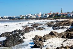 Old peninsula area with Lighthouse and Blue historic church in P. Unta del Este, Maldonado, Uruguay Stock Images