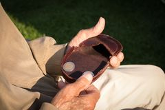 Old pensioner counting her retirement money, only euro coins Stock Photography