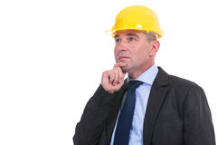 Old pensive engineer Stock Photo