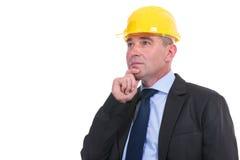 Old pensive engineer Stock Photo