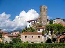 The old pentagonal tower, Vezzano Ligure, Italy. Royalty Free Stock Photos
