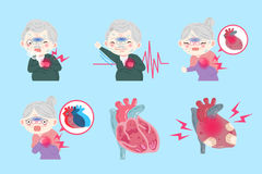 Old peopel with heart attack Stock Photography
