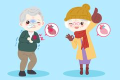 Old peopel with heart healthy. Concept on the blue background Stock Photography