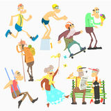 Old People Activities, Flat Vector Illustration Set Stock Photography