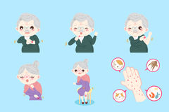 Old people with allergy. On the blue background Stock Images