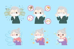 Old people with allergy problem. On the blue background Royalty Free Stock Photos