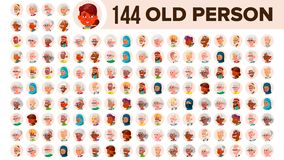 Old People Avatar Set Vector. Multi Racial. Face Emotions. Multinational User Person Portrait. Elderly Male, Female. Ethnic. Icon. Asian, African European Arab royalty free illustration