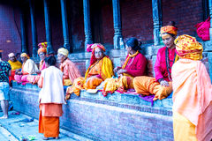 Old People Begging at Pashupatinath Temple Royalty Free Stock Photo