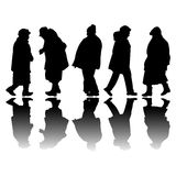 Old people black silhouettes Stock Photo