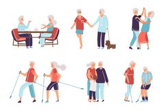 Free Old People. Cartoon Hand Drawn Elderly Persons And Couples, Grandparents In Different Activities. Vector Happy Senior Royalty Free Stock Photos - 165468898