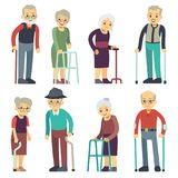 Old people cartoon vector characters set. Senior man and woman couples collection Royalty Free Stock Photo