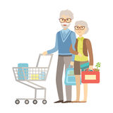 Old People Couple Shopping For Groceries In Supermarket, Illustration From Happy Loving Families Series Stock Photos